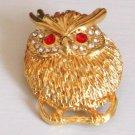 Vintage Rhinestone Owl Pin/Brooch 1980s