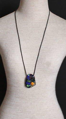 Vintage Blue Art Glass Necklace/Pendant