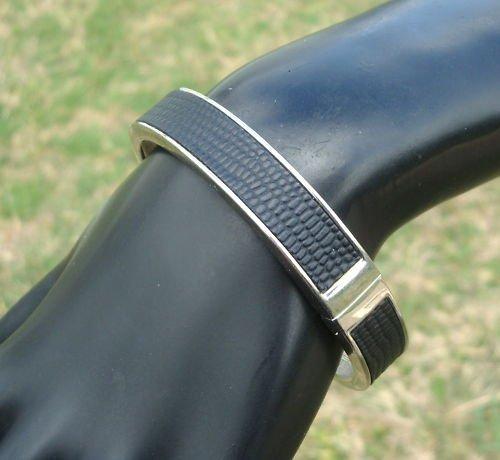 Vintage Magnetic Black Leather HInged Bangle Bracelet