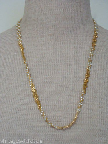 Elegant Vintage White & Gold Tone Pearl Necklace