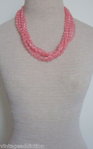 Vintage Pink Lucite Multi Strands Necklace
