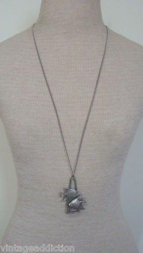 "Vintage Pewter Fish 31""  Piesces Chain Pendant Necklace"