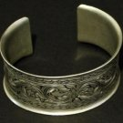Unique Vintage Nouveau Deco Engraved Wide Cuff Bracelet