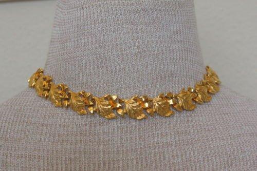 Vintage Golden Leaves Link Choker Necklace