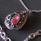 Vintage Double Chain Pink Rhinestone Necklace/Pendant