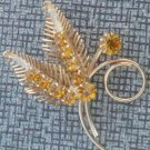 Lovely Vintage Vibrant Yellow Rhinestone Pin /Brooch