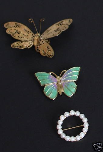 Beautiful Vintage Butterfly Pin Brooch Collection