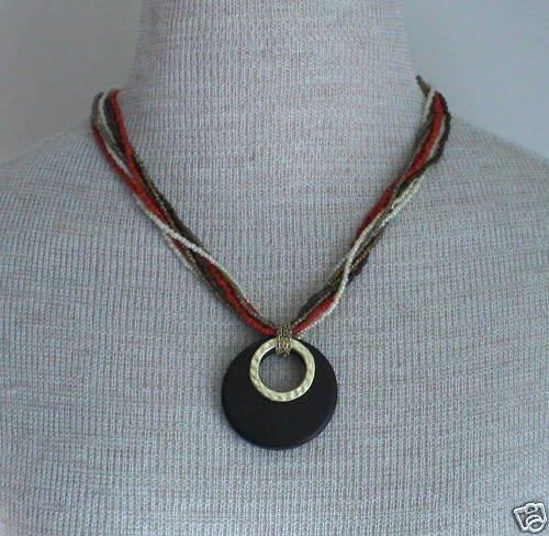 Vintage Multi Strand Glass Pendant Necklace Bold!