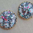 Vintage Sarah Cov Vibrant Confetti Oversize Earrings