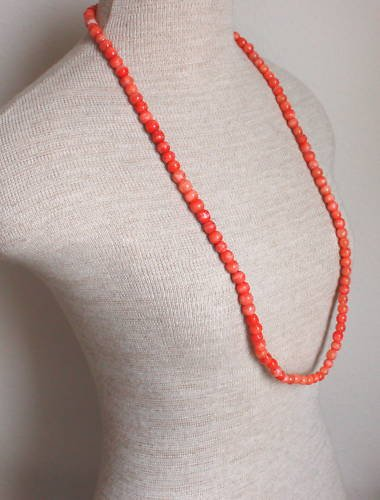 Vintage Red Semi Precious Stone Long Strand Necklace 34