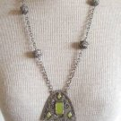 Vintage Art Deco Green Dangle Pendant Necklace