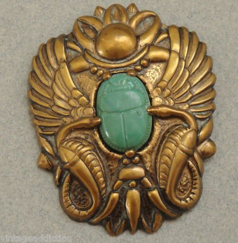 Vintage Art Deco Scarab Egyptian Pin Brooch