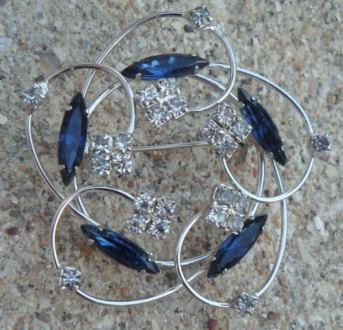 Vintage Chrome With Blue Navette Rhinestone Pin Brooch