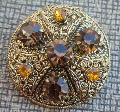 Vintage Brown & Yellow Rhinestone Older Pin Brooch
