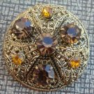 Vintage Brown & Yellow Rhinestone Older Pin Brooch