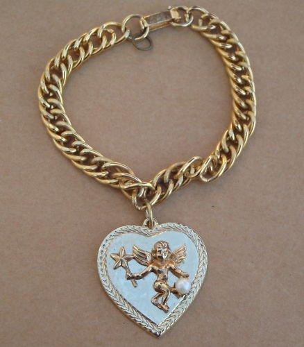 Vintage Goldtone Chain Heart Cherub Charm Bracelet