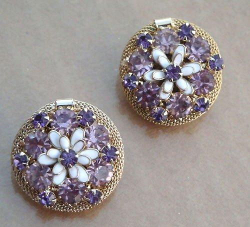 Vintage WEISS Golden Mesh Purple Rhinestone Earrings