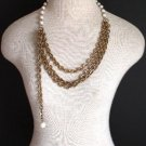 Vintage Multi Chain White Faux Pearl Necklace