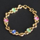 Vintage Colored Rhinestone Glass Chain Bracelet