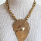 Vintage Art Deco Super Chunky Leaf Pendant Necklace