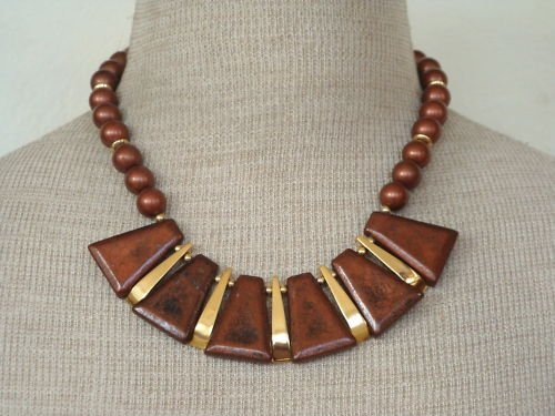 Unique Vintage Pearl Copper Tone Bib Cleopatra Necklace