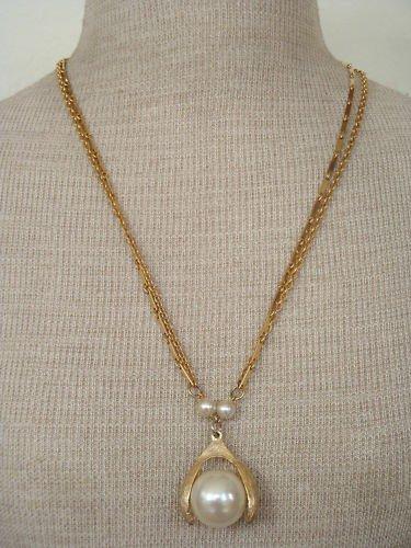 Vintage White Faux Pearl Pendant  Double Chain Necklace