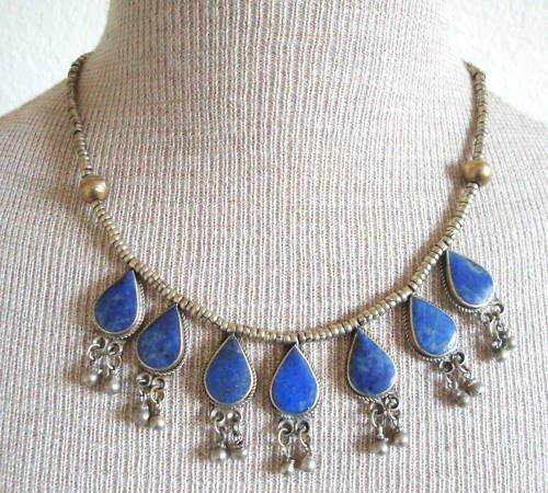 Vintage Art Deco Lapis Egyptian Revival Bib Necklace