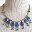 Vintage Art Deco Lapis Egyptian Revival Bib Necklace
