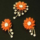 Vintage Celluloid Orange Flower  Earrings Brooch Set