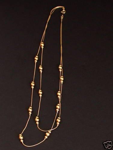 Classy Vintage Gold Bead Multi Strand Necklace