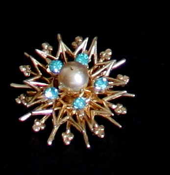 Vintage Coro Blue Rhinestones Tiny Pin/Brooch
