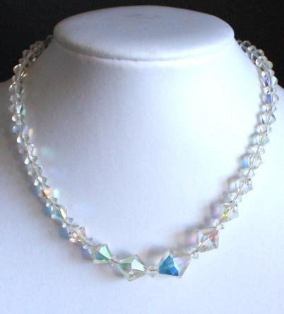 Vintage White Crystal Glass Bead Necklace 1950s