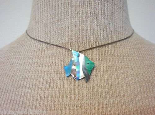Vintage Sterling Mother Of Pearl Fish Pendant Necklace