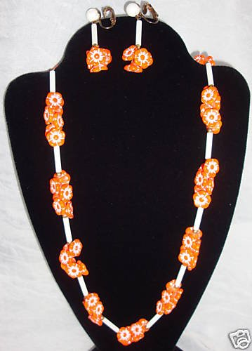 Vibrant Vintage Orange Flower Necklace  Earring Set 60s