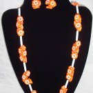Vibrant Vintage Orange Flower Necklace  Earring Set 60s