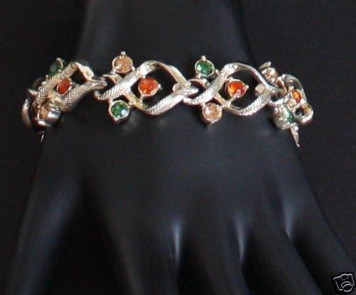 Vintage Signed Coro Amber Rhinestone Bracelet