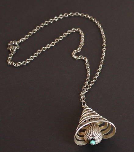 Vintage Silver Tone Bell Necklace/Pendant