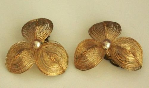 Vintage German Filigree Gold Tone Petal Earrings