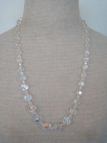 Vintage White Crystal Auroa Borealis Glass Necklace