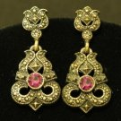 Vintage  Purple Rhinestone Victorian Revival Earrings
