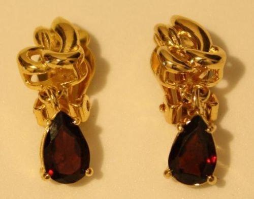 Vintage Gold Tone Amethyst Earrings
