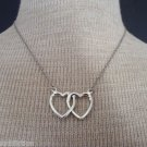 Vintage Cute Two Love  Hearts Rhinestone Necklace