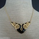 Elegant Vintage Black Enamel Wing  Necklace