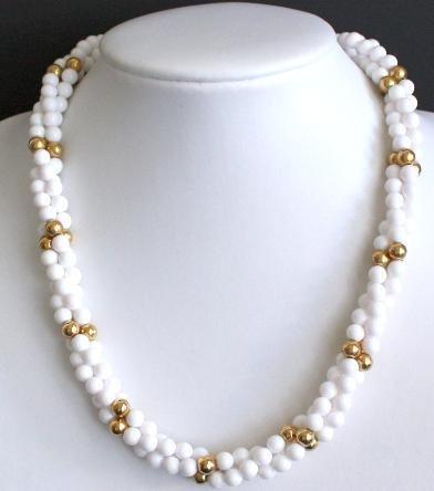 Vintage Napier White & Golden Pearl Torsade  Necklace