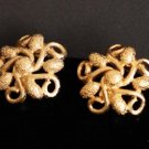 Vintage Monet Gold Tone Swirl Clip On Earrings