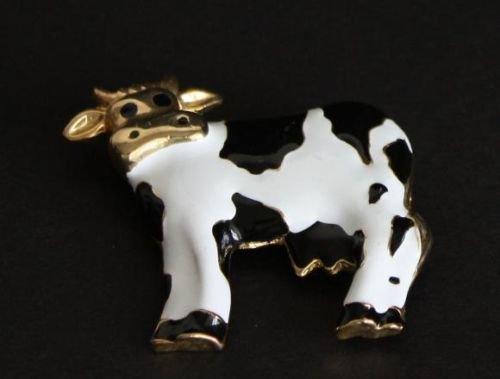 Vintage Unique & Cute Black & White Cow Pin /Brooch