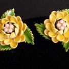 Vintage Yellow Flower Green Leaves Clip On Earrings