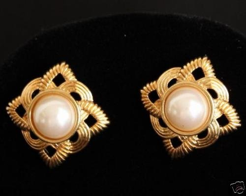 Vintage Gold Tone Faux Pearl Pierced Earrings