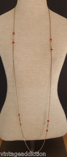 """Vintage Art Deco Red Glass 55"""" Long Strand Necklace"""