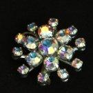 Vintage Starburst Rhinestone Aurora Borealis Brooch